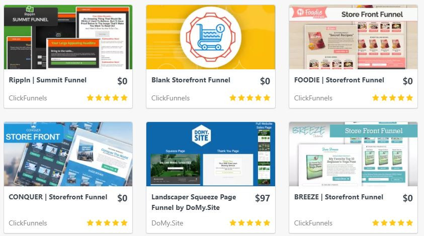 Free Templates in Clickfunnels Marketplace