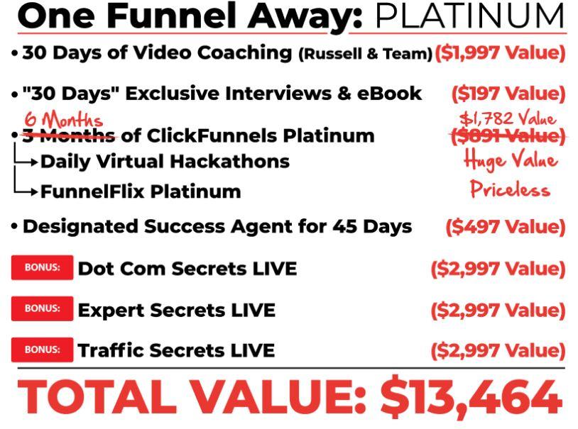One Funnel Away Platinum bonuses